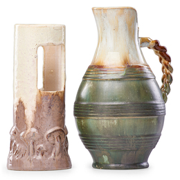 Ikebana Vase In Elephant's Breath Glaze And Pitcher With Braided Handle In Flambé Glaze, Flemington, NJ