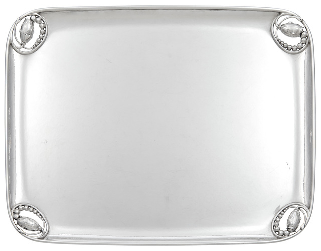 'Georg Jensen Sterling Silver Blossom Pattern Tray Pattern no. 2 D', circa 1960, Doyle