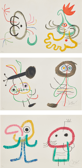 Joan Miró, 'L'Enfance d'Ubu (Ubu's Childhood): three signed plates', 1975, Phillips