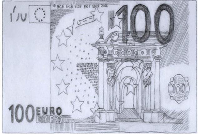 , 'Cambio dibujos de billetes de euros por pesetas. Tasa de cambio 1:1,' 2014, Galeria Senda