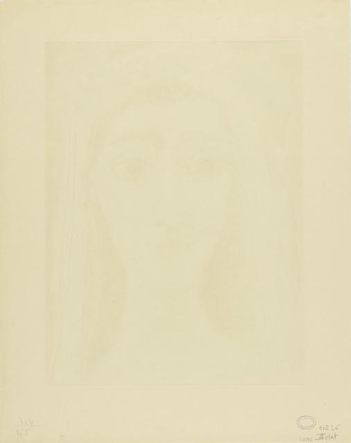 Pablo Picasso, 'Jacqueline en mariée, de face. I (Ba. 1089)', 1961, Print, Aquatint, scraper, drypoint and engraving, Sotheby's