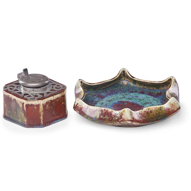 Pierre Adrien Dalpayrat, 'Inkwell And Low Bowl, Oxblood Glazes, France', 1900s, Rago/Wright