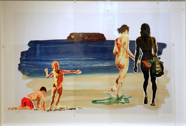 Eric Fischl, 'Girls Walking Boy Throwing Stone', 2017, Print, Sublimation on mylar with pins & digital pigment print on paper mounted to acid-free board, William Campbell Contemporary Art Inc