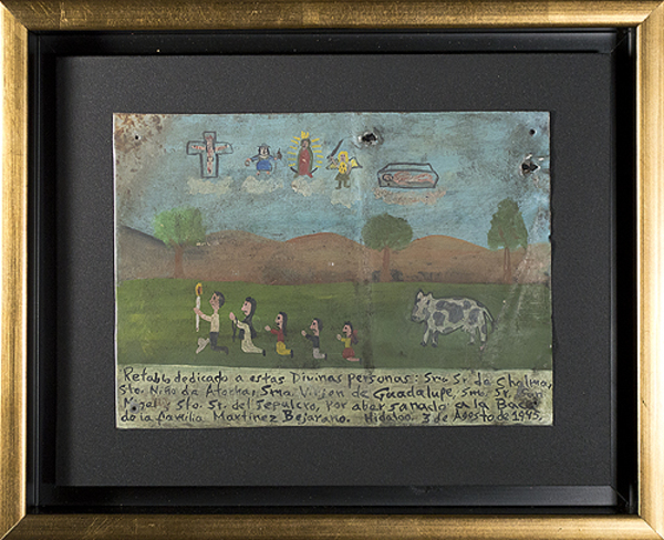 , 'Retablo Exvotos (Replica Family w/Cow's Vision, Christ & Saints),' 1992, David Barnett Gallery