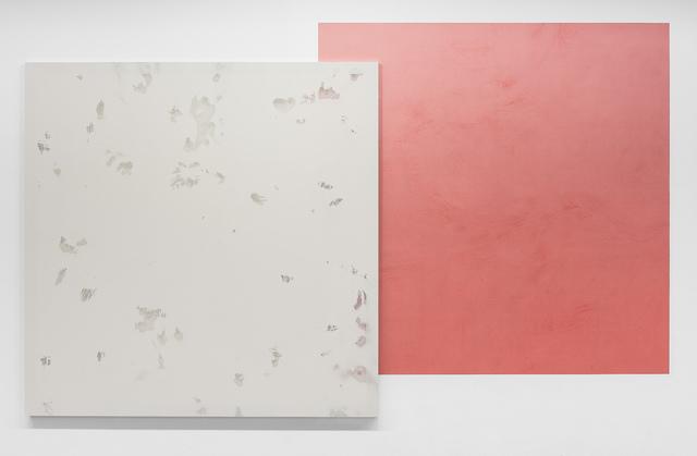 ", '""Écran/Collage #4 (gris Scorpion-rouge Atika)"",' 2017, VALENTIN"