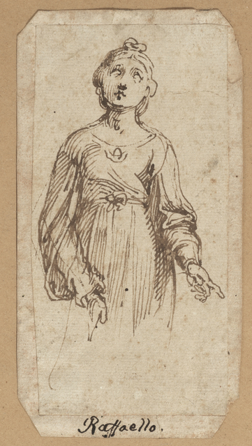 Italian School, 17th Century, 'Saint Cecilia, after Raphael', 17th Century, Drawing, Collage or other Work on Paper, Brown pen and ink, Day & Faber