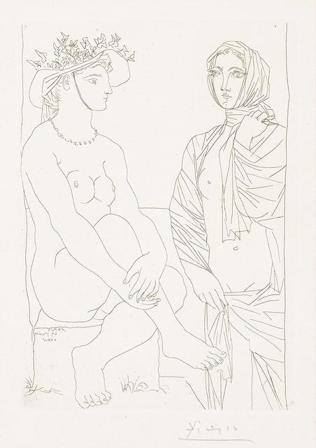 Pablo Picasso, 'Femme assise au Chapeau et Femme debout drapée (Woman sitting in hat and woman standing draped)', 1934, Print, Etching on Montval laid paper, Masterworks Fine Art