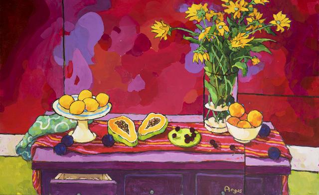 , 'Arrangement with Lemons Bathed in Reds,' , Ventana Fine Art