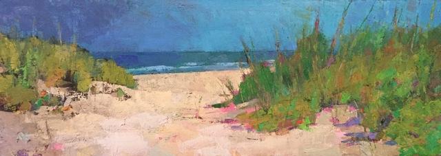 ", '""Almost There"" oil painting of a path to the beach through dunes, blue sky,' 2019, Eisenhauer Gallery"