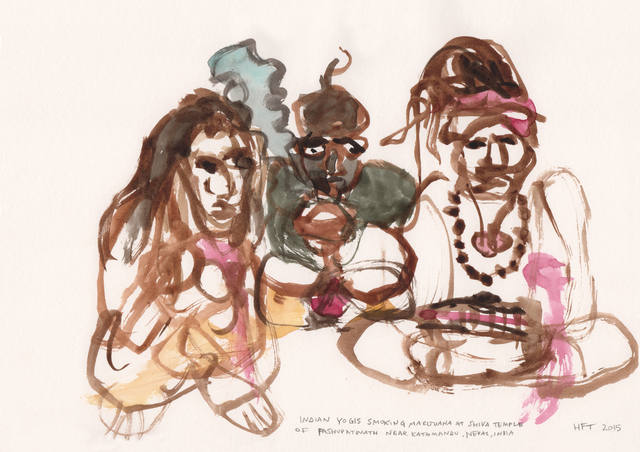 , 'HFT The Gardener/Shaman Visions/Indian Yogis smoking marijuana at Shiva Temple of Pashupatinath,' 2014-2015, Annely Juda Fine Art