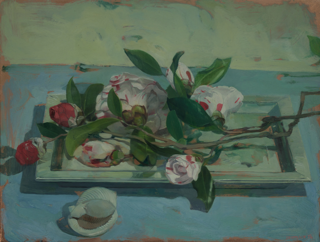 , 'Camellias on Tray,' 2018, LeMieux Galleries