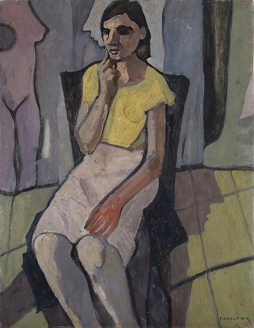 Felice Casorati, 'Ragazza seduta (con l'abito chiaro)', 1942, Finarte