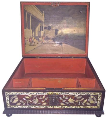 , 'Caja de carey con paisaje del Puerto de Indias,' Siglo XVIII, Mario Uvence