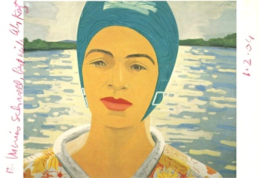 Ada with Bathing Cap, hand signed, inscribed and dated postcard