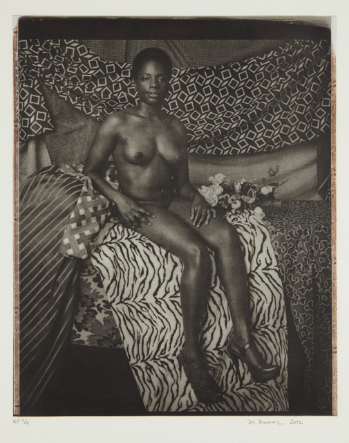 Mickalene Thomas, 'Portrait of Marie Sitting in Black and White', 2012, Phillips