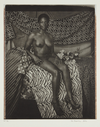 Mickalene Thomas, 'Portrait of Marie Sitting in Black and White,' 2012, Phillips: Evening and Day Editions (October 2016)