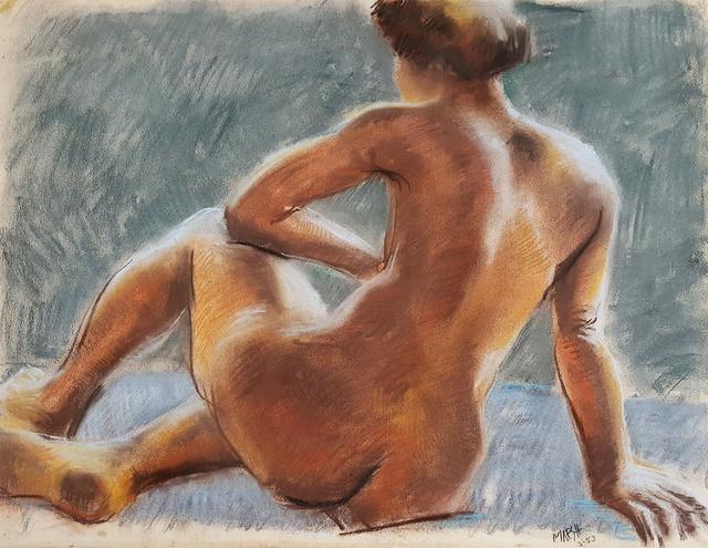 Reginald Marsh, 'Sitting Nude', 1953, Robert Funk Fine Art