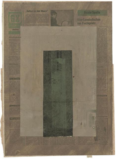 , 'Vertikaler Balken in Grün-schwarz auf Rechteck in Grau,' 1971, Galerie Doebele