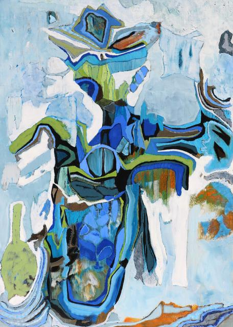 """, '""""Frenchmarine"""" Mid-sized Abstract Painting with Blue Green and Orange,' 2010-2017, Eisenhauer Gallery"""