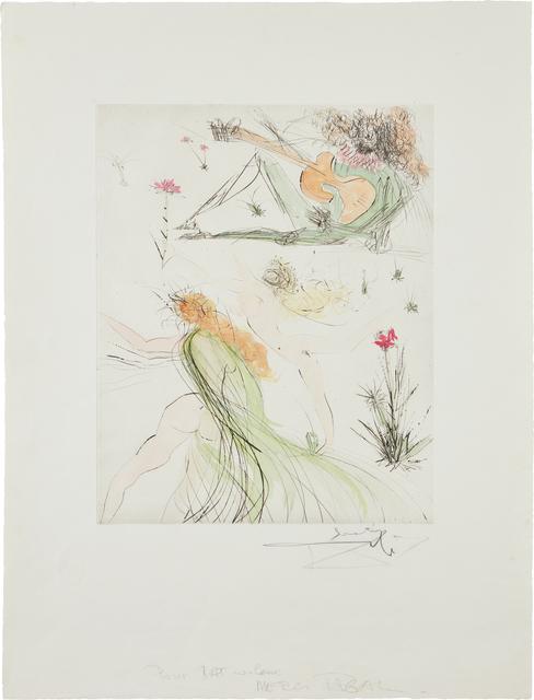 Salvador Dalí, 'La Joie de vivre (The Joy of Life)', 1974, Print, Drypoint with hand-coloring, on Rives BFK paper, with full margins, Phillips