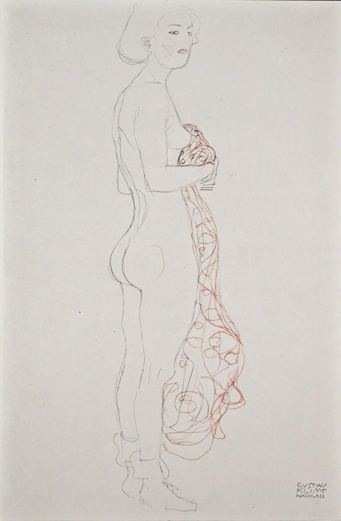 Gustav Klimt, 'Standing Nude with Towel [Fünfundzwanzig Handzeichnungen],' 1919, Jason Jacques Gallery