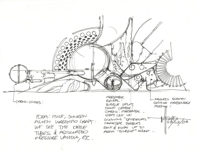 Syd Mead, 'Concept Sketch, Pressure Door Mechanism for Alien Wrecked Craft with Notations', 1998, Edward Cella Art and Architecture