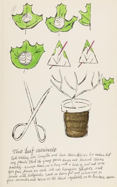 Andy Warhol, 'Vine Leaf Marinade (from Wild Raspberries) (see Feldman & Schellmann IV.141.A)', 1959, Forum Auctions