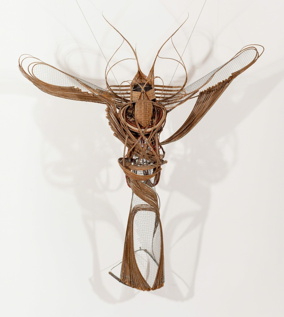 Adejoke  Tugbiyele, Flight of Revelation, 2011. Palm stems, steel wire, trivet and mannequin head, 183 x 152 x 82 cm, Photo: Jonathan Greet, Courtesy October Gallery, London