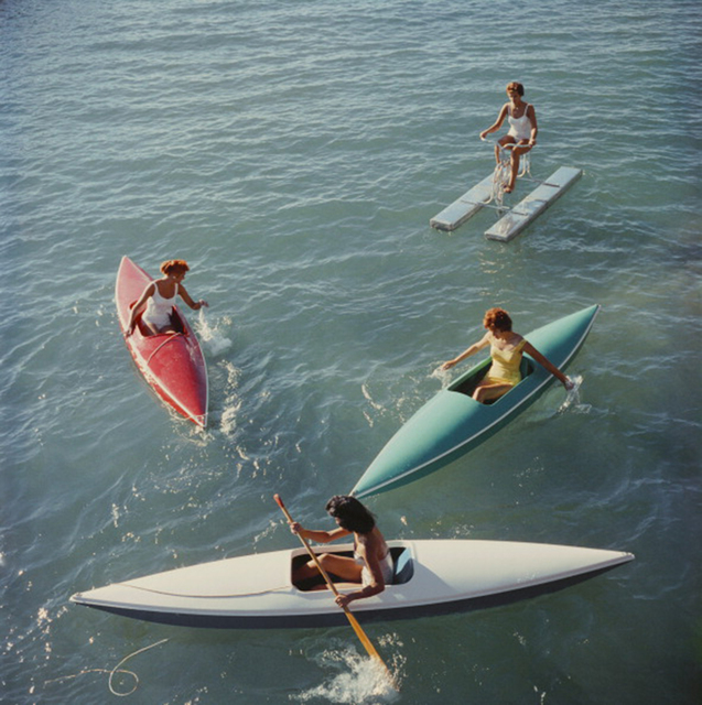 Slim Aarons, 'Lake Tahoe Trip, 1959: Young women canoeing on the Nevada side of Lake Tahoe', 1959, Staley-Wise Gallery