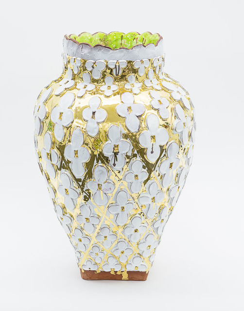 , 'Large Flower Vase in white and Gold,' , Häusler Contemporary