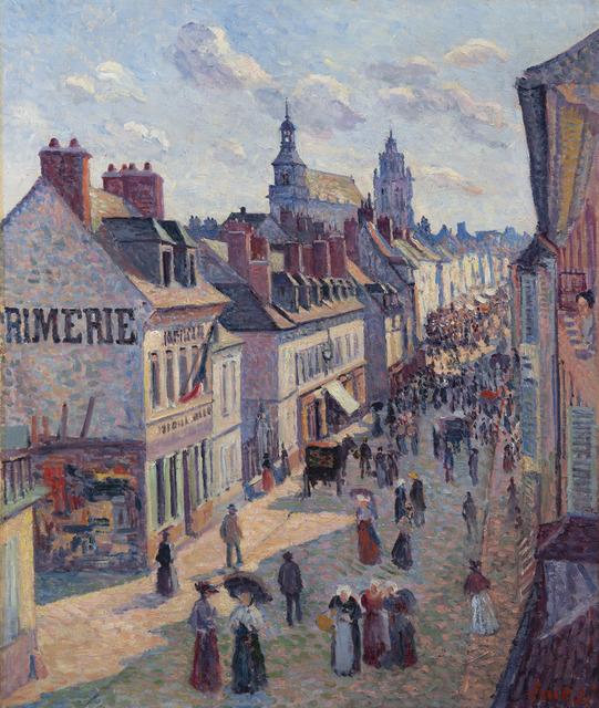 Maximilien Luce, 'Jour de marché à Gisors (rue Cappeville)', 1897, HELENE BAILLY GALLERY