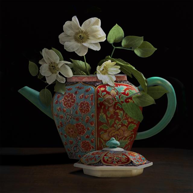 , 'Clematis in a Chelsea Teapot (Vase Courtesy of the Gardiner Ceramics Museum),' 2017, Galerie de Bellefeuille