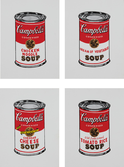 Richard Pettibone, 'Chicken Noodle; Cream of Vegetable; Cheddar Cheese and Tomato Rice, from Andy Warhol, '32 Cans of Campbell's Soup,' 1962', 1987, Phillips