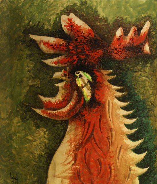 Jean Lurçat, 'Bestiaire: Coq vert (Grand Ubu)', c.1947, Painting, Gouache on Arches paper, Roseberys