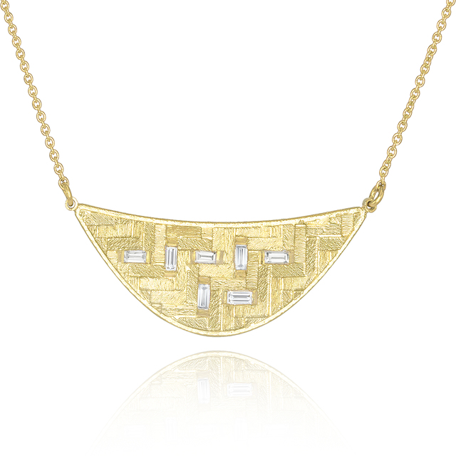 , 'Diamond Baguette Crescent Parquet Necklace,' 2016, Szor Collections
