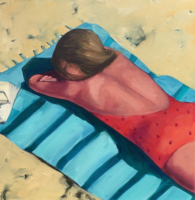 ", '""Beach Day"" Oil Painting of a Woman in an orange bathing suit on a Turquoise Towel on the Sand,' 2010-2018, Eisenhauer Gallery"