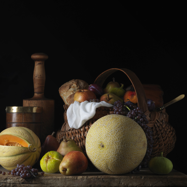 , 'Still Life with Melons and Basket, after L.M.,' 2014, Robert Mann Gallery