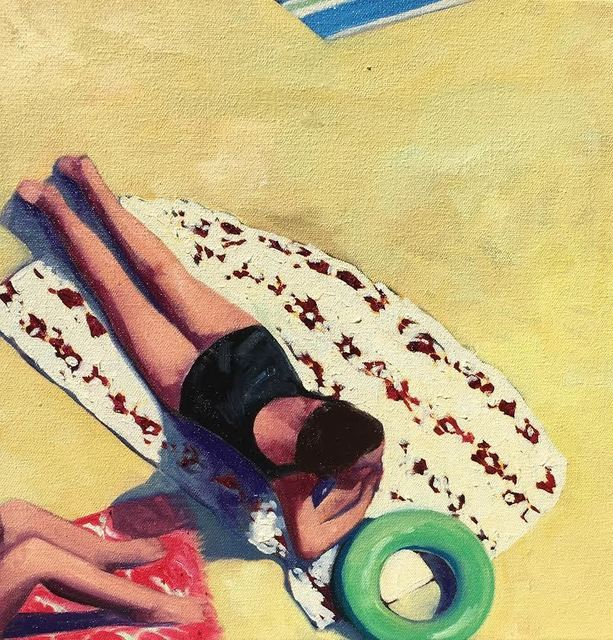 "T.S. Harris, '""Beach Day II"", Oil painting of a woman in a black suit sunbathing', 2019, Eisenhauer Gallery"