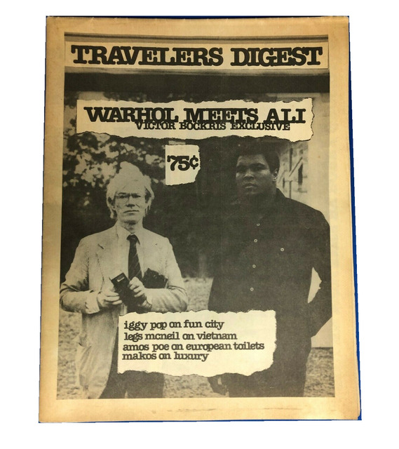 "Andy Warhol, '""Warhol Meets Mohamed Ali"", Travelers Digest NYC, Vol 1 No 2.', 1977, Ephemera or Merchandise, Print on newsprint., VINCE fine arts/ephemera"