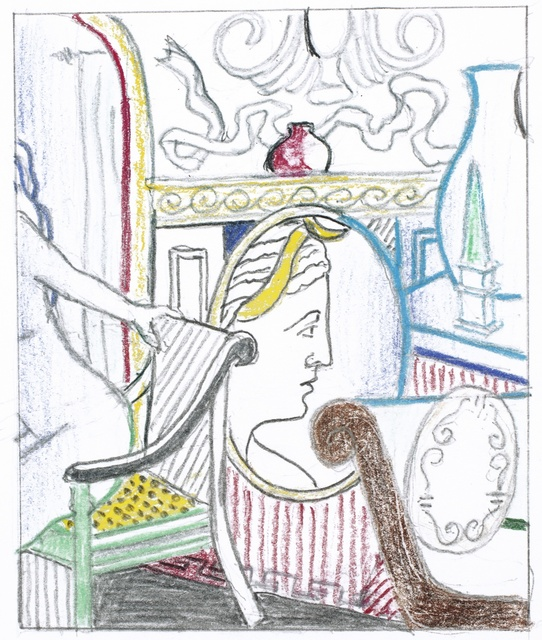Roy Lichtenstein, 'Interior with Diana' (Study)', Drawing, Collage or other Work on Paper, Colored pencil and graphite on paper, Sotheby's