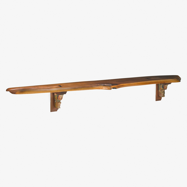 Phil Powell, 'Large wall shelf with Sicilian corbels, New Hope, PA', 1960s, Design/Decorative Art, Figured and carved walnut, ebony, found objects, Rago/Wright