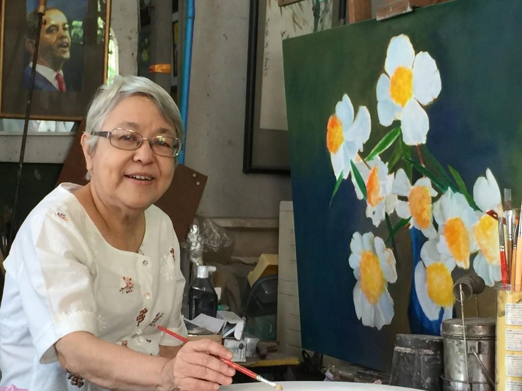 Myint Myint Tin in her studio