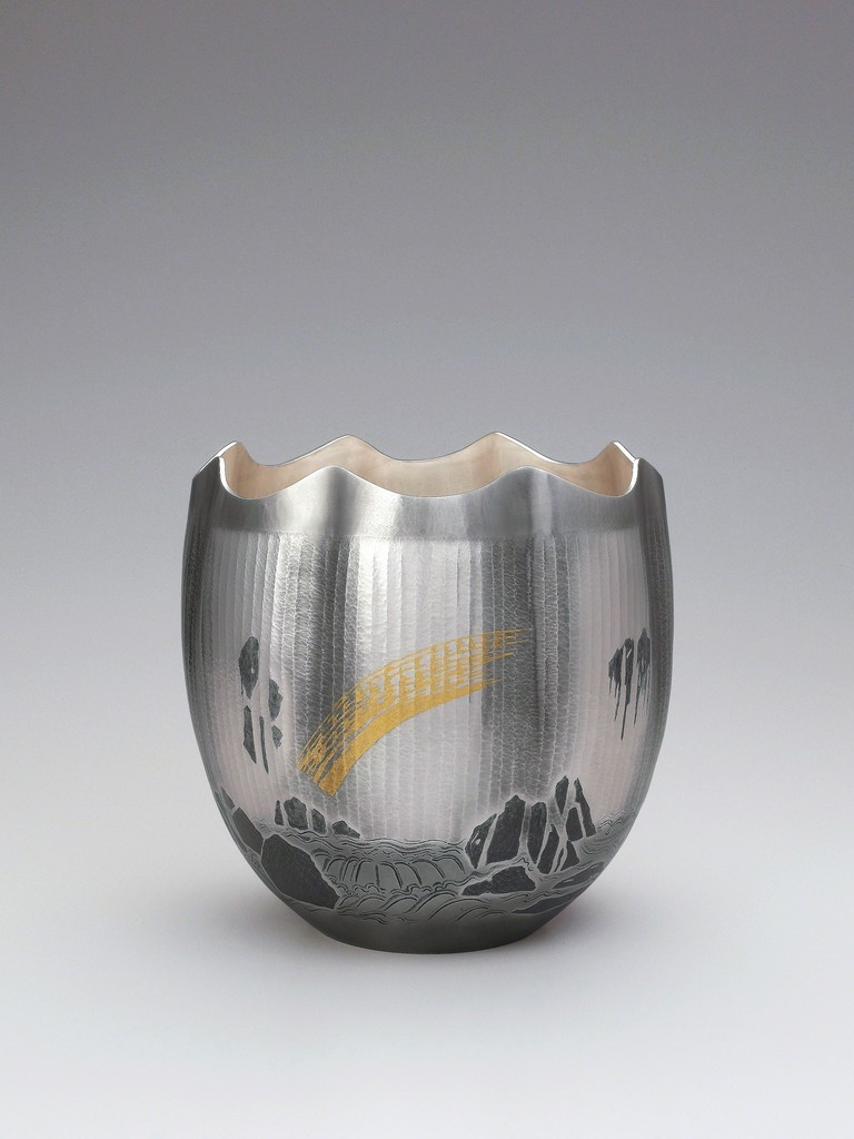 OSUMI Yukie (b. 1945), Living National Treasure, Bakufu (Waterfall), 2011, Hammered silver with nunome zōgan decoration in lead and gold, h. 10 x dia. 9 7/8 in (25.5 x 25 cm)