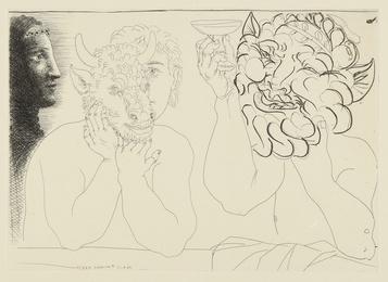 Jeune homme au masque de taureau, faune et profil de femme (B. 279; Ba. 422)