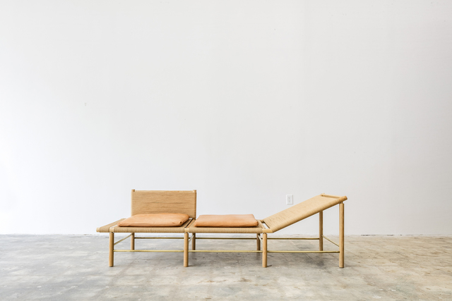 Jonathan Gonzalez, 'Chaise Lounge Chair', 2015, Design/Decorative Art, Ash wood, brass, Danish cord and leather, Tile Blush