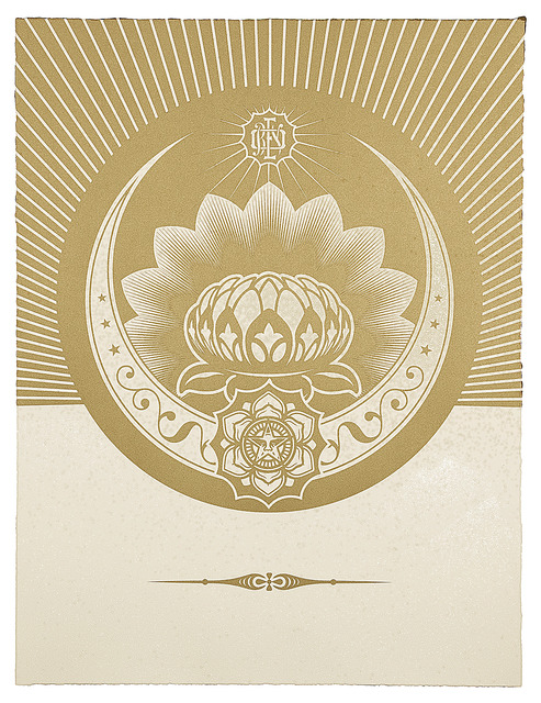, 'Obey Lotus Crescent (White and Gold),' 2012, Paul Stolper Gallery