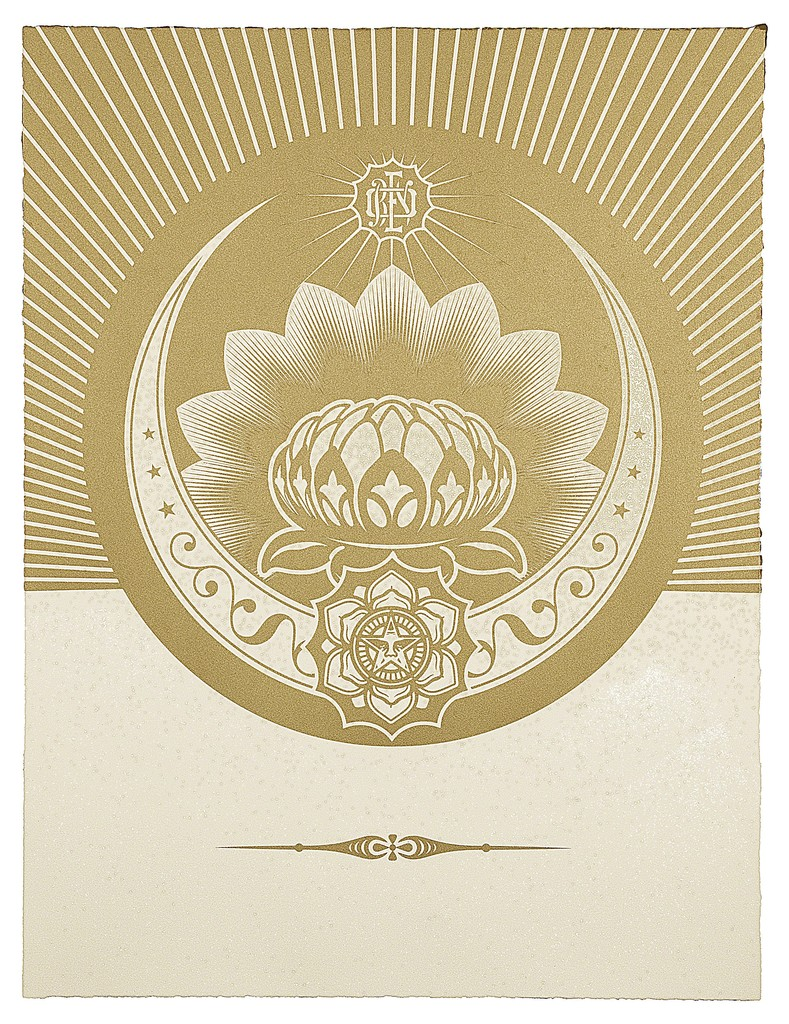 Shepard Fairey, 'Obey Lotus Crescent (White and Gold),' 2012, Paul Stolper Gallery