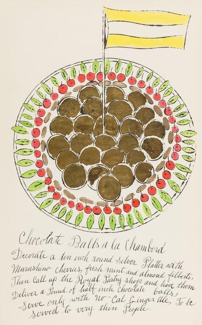 Andy Warhol, 'Chocolate Balls à la Chambord (from Wild Raspberries) (see Feldman & Schellmann IV.128.A)', 1959, Forum Auctions