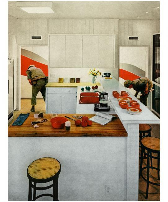 Martha Rosler, Red Stripe Kitchen, from the series House Beautiful: Bringing the War Home, ca. 1967–72, photomontage, Art Institute of Chicago, through prior gift of Adeline Yates. © Martha Rosler, Courtesy of the artist and Mitchell-Innes & Nash, New York