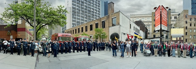 , 'Corner of the Courageous, Repatriation Ceremony for Colonel Geoff Parker, Grenville St., Toronto, On,' 2011, Arsenal Contemporary